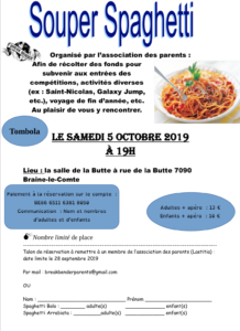 Flyers Souper de l'association des parents