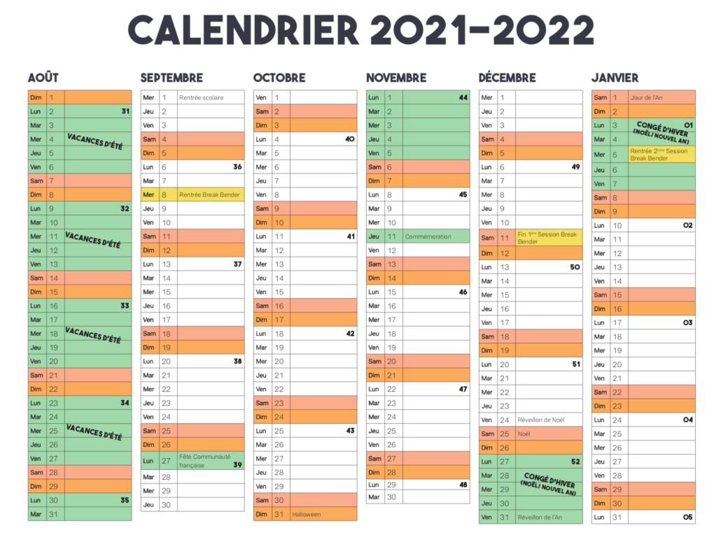 Calendrier Break Bender 2021/2022